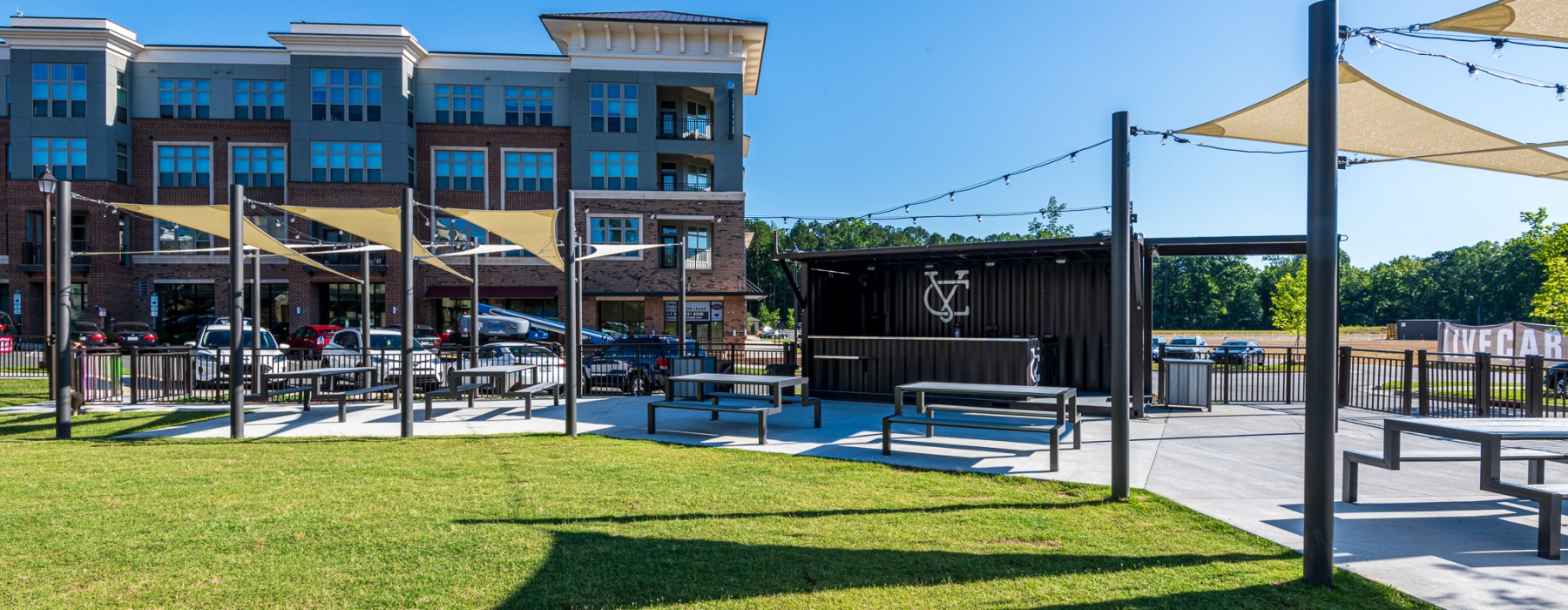 Beer garden at Carraway Village Apartments in Chapel Hill, NC
