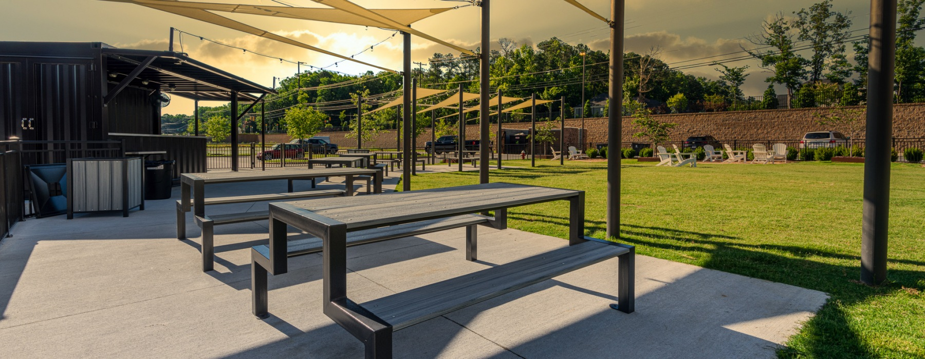 Carraway Village Apartments has an onsite beer garden for residents!