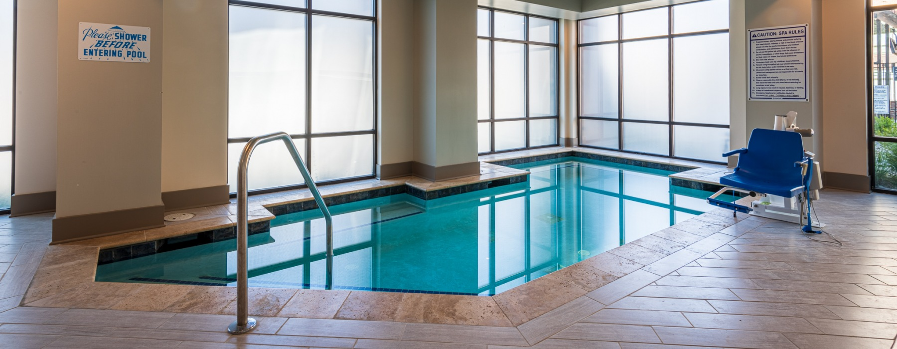 Resort inspired indoor pool at Carraway Village Apartments in Chapel Hill, NC