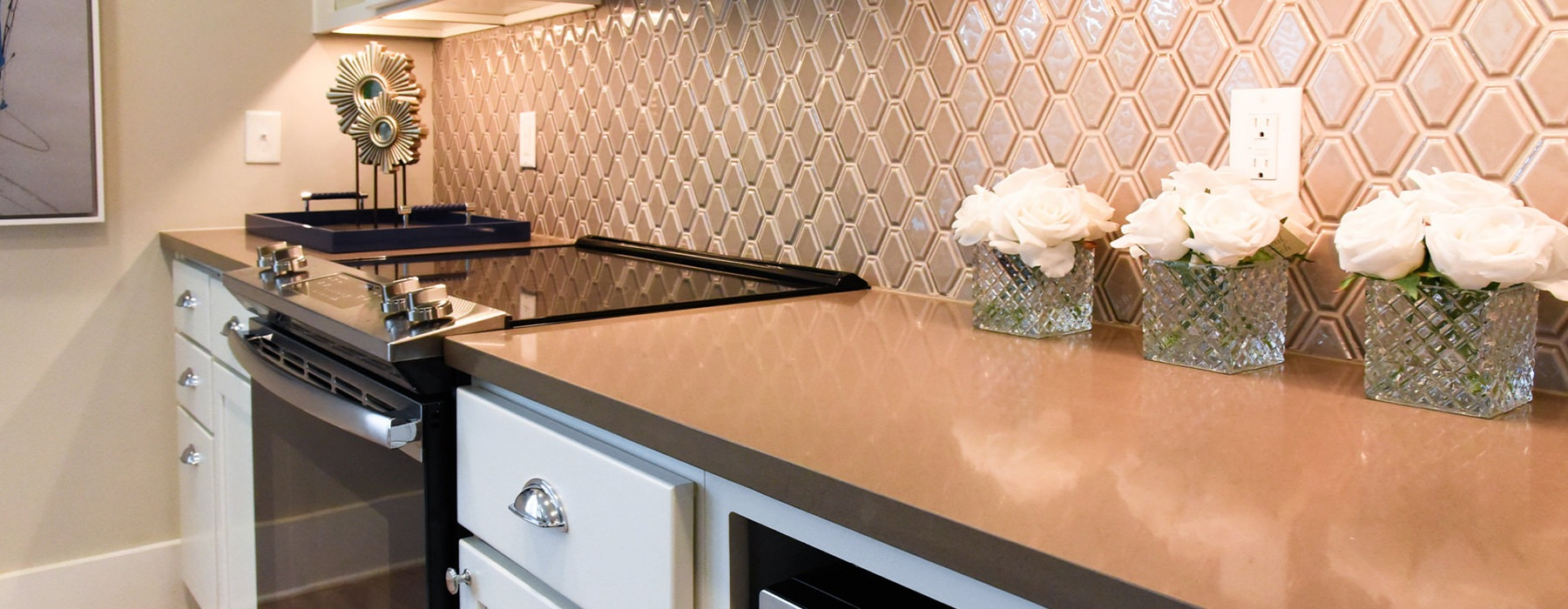 Kitchen features under-cabinet lighting